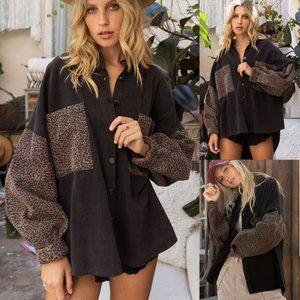 NEW Faded Black Leopard Sleeves 100% Cotton Oversized Denim Jacket Shacket